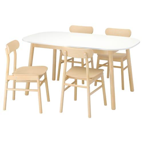 VEDBO / RÖNNINGE stół i 4 krzesła biały/brzoza 160 cm 95 cm