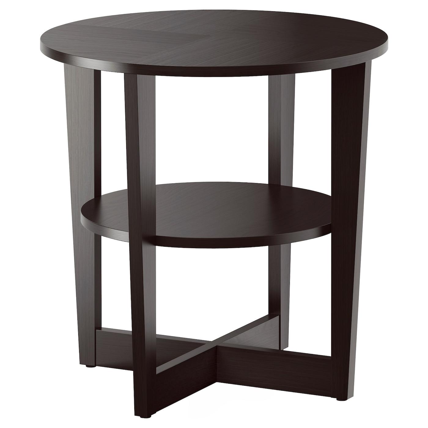 IKEA VEJMON czarnobrązowy, okrągły stolik, średnica 60 cm