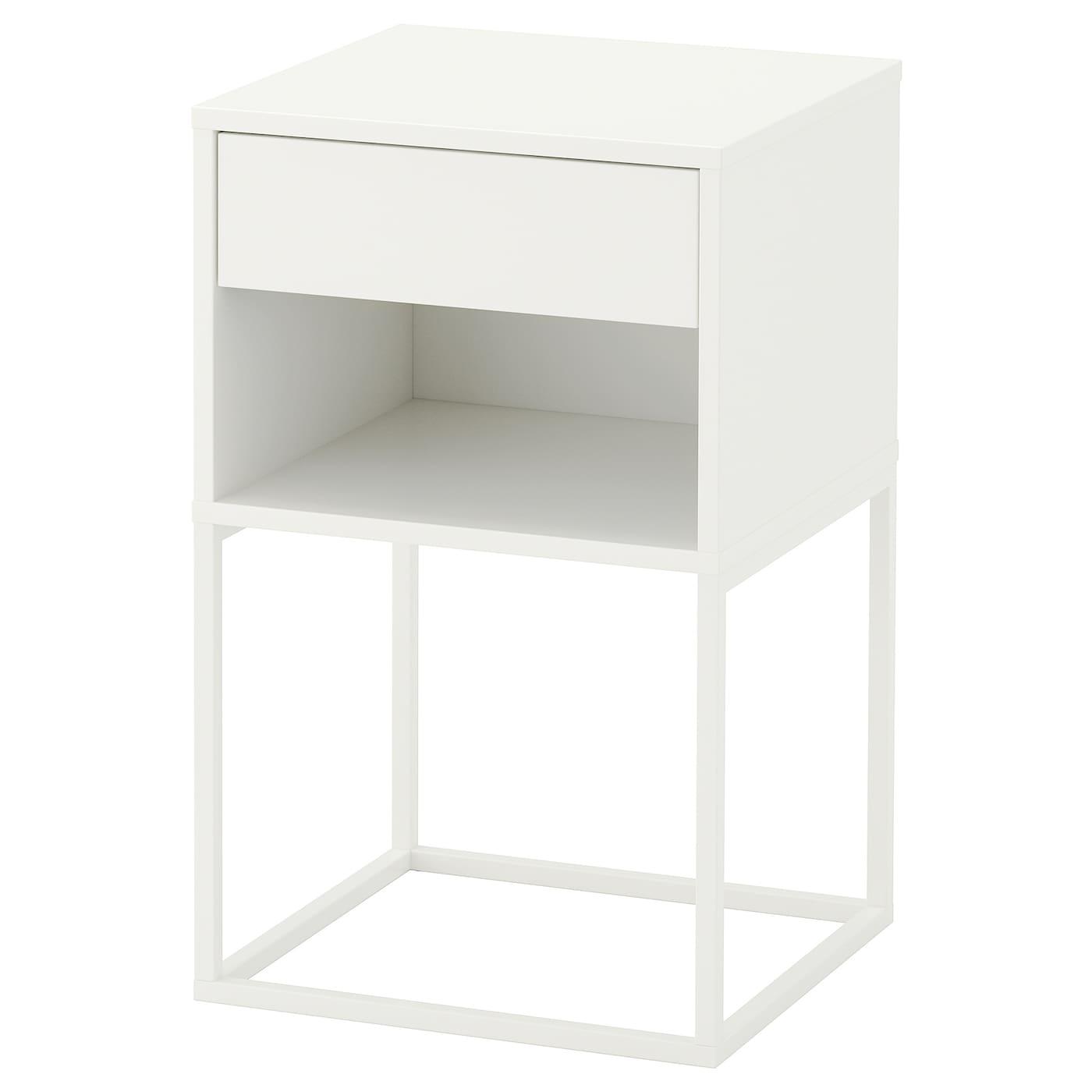 IKEA VIKHAMMER biały stolik nocny, 40x39 cm