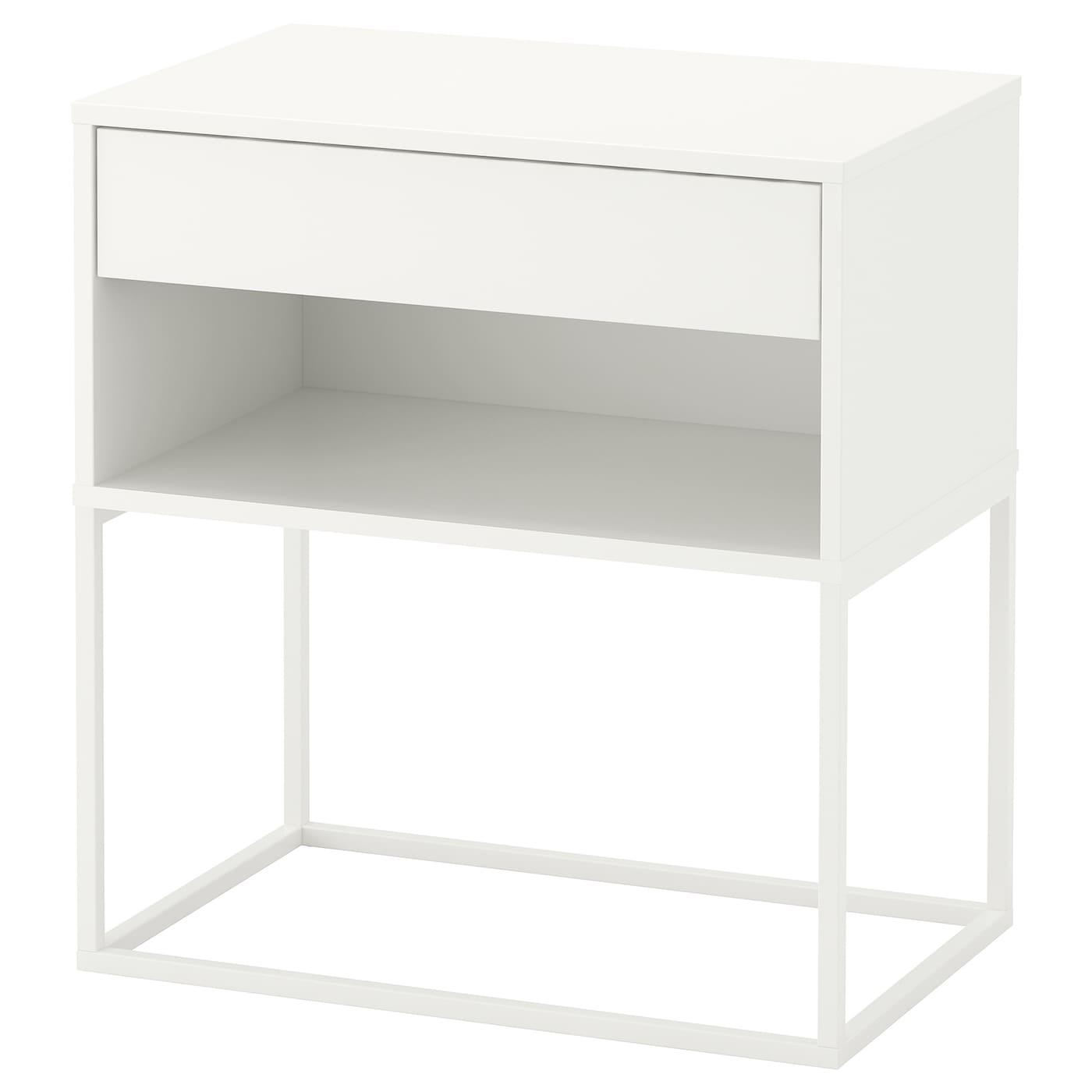 IKEA VIKHAMMER Stolik nocny, biały, 60x39 cm