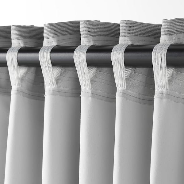 VILBORG Zasłony zaciemniające, 1 para, szary, 145x300 cm