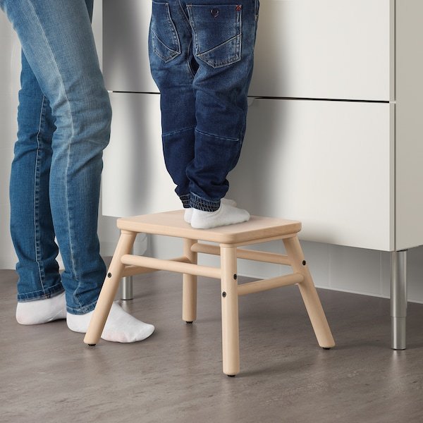 VILTO stołek ze schodkiem brzoza 40 cm 32 cm 25 cm 100 kg