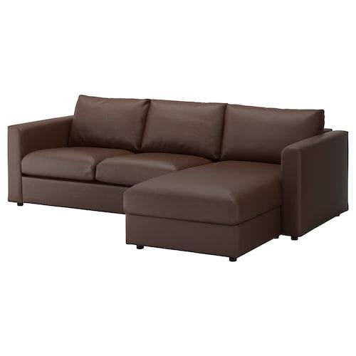 VIMLE sofa 3-osobowa z szezlongiem/Farsta ciemnobrązowy 80 cm 164 cm 252 cm 98 cm 125 cm 4 cm 15 cm 65 cm 222 cm 55 cm 45 cm