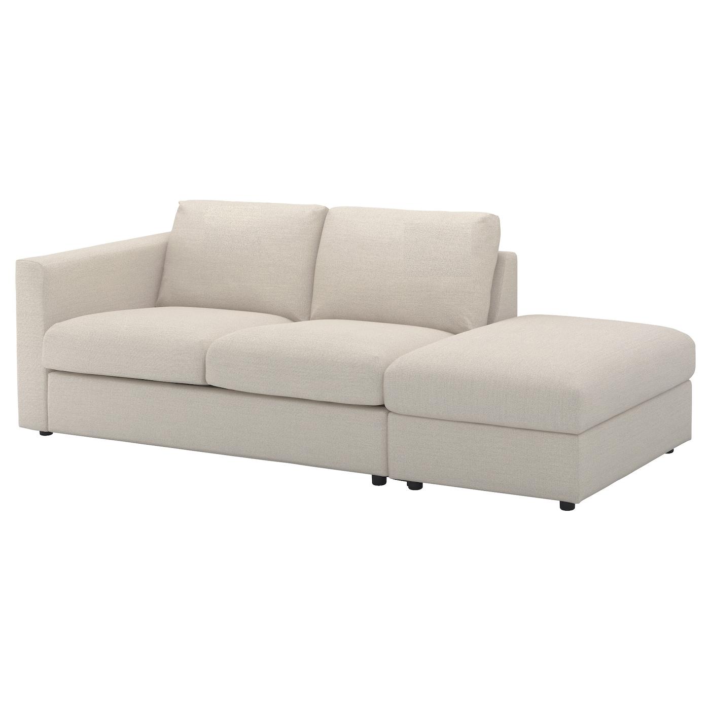 IKEA VIMLE Sofa 3-osobowa, z otwartym końcem, Gunnared beżowy
