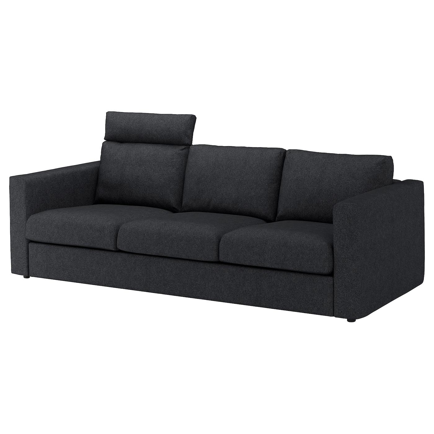 IKEA VIMLE Sofa 3-osobowa, z zagłówkiem, Tallmyra czarny/szary