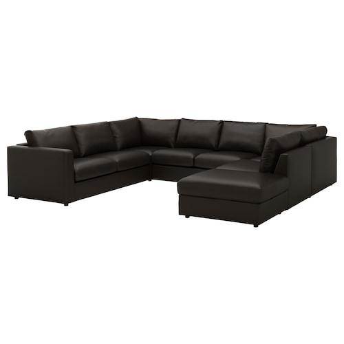 VIMLE sofa w kształcie litery U, 6-osob z otwartym końcem/Farsta czarny 80 cm 327 cm 249 cm 195 cm 192 cm 4 cm 15 cm 65 cm 243 cm 55 cm 45 cm