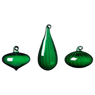 VINTER 2020 Bombka ozdobna, zest. 3 szt., różne kształty/szkło zielony