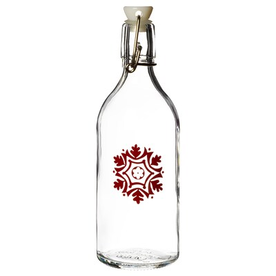 VINTER 2020 Butelka z kapslem, szkło/wzór płatki śniegu czerwony, 0.5 l