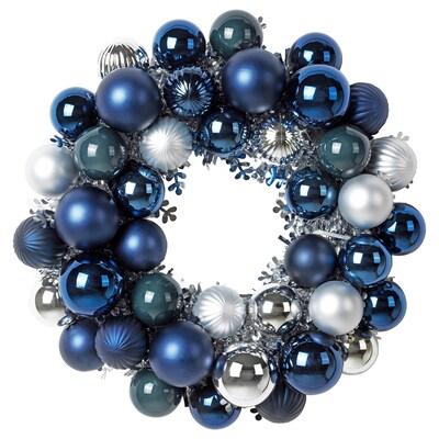 VINTER 2020 Ozdoba, wieniec, niebieski/srebrny, 38 cm