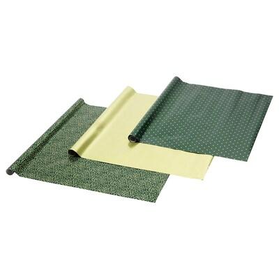 VINTER 2020 Papier do pakowania, wzór jemioły/wzór w kropki zielony/złocisty, 3x0.7 m/2.10 m²x3 szt.
