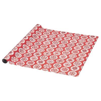 VINTER 2020 Papier do pakowania, wzór płatki śniegu czerwony, 3x0.7 m