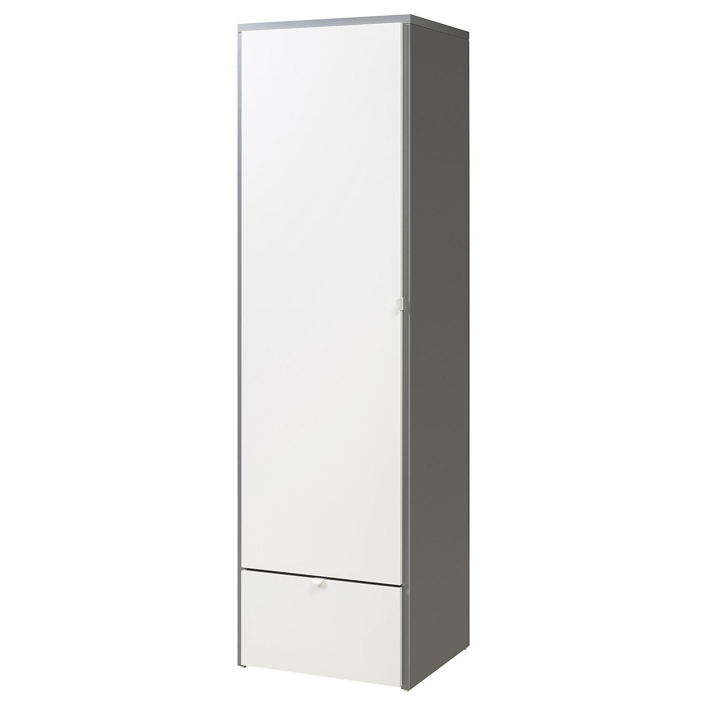 IKEA VISTHUS szara szafa z białymi drzwiami i szufladami, 63x59x216 cm