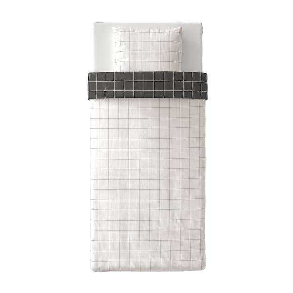 VITKLÖVER Poszwa na kołdrę i poszewka, biały czarny/w kratkę, 150x200/50x60 cm
