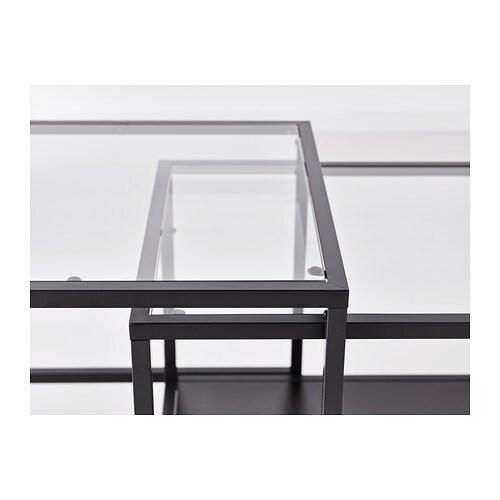 ВИТШЁ Комплект столов, 2 шт, черно-коричневый, стекло, 90x50 см-6