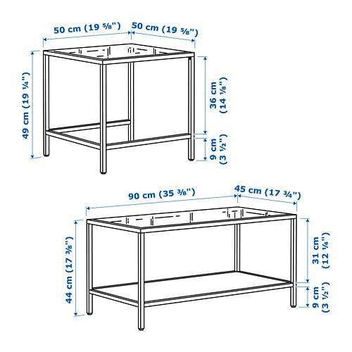 ВИТШЁ Комплект столов, 2 шт, черно-коричневый, стекло, 90x50 см-5