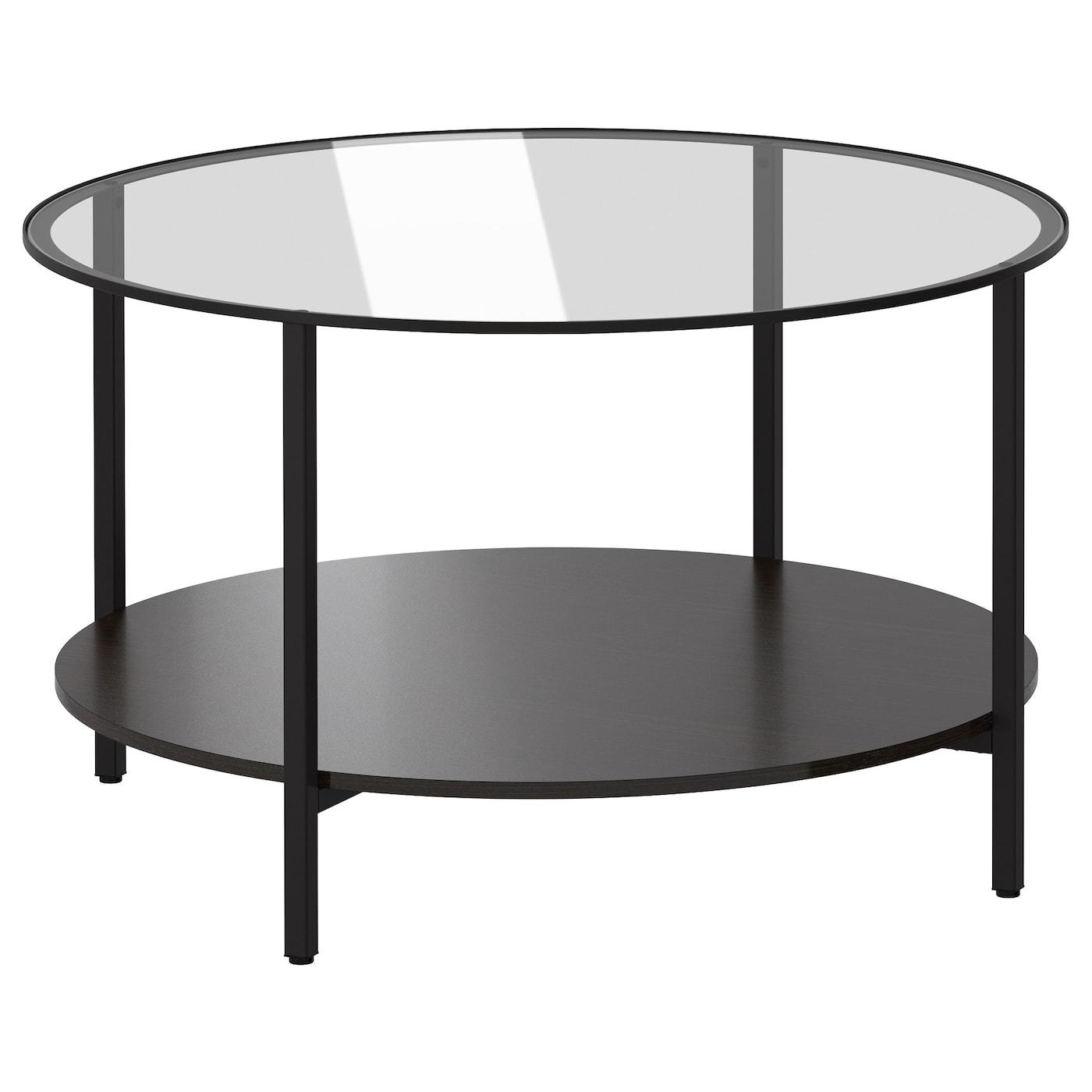 IKEA VITTSJÖ czarnobrązowy, okrągły stolik ze szklanym blatem, średnica 75 cm