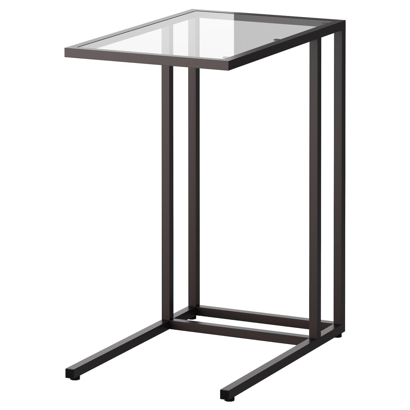 IKEA VITTSJÖ czarnobrązowy stolik na laptopa ze szklanym blatem, 35x65 cm