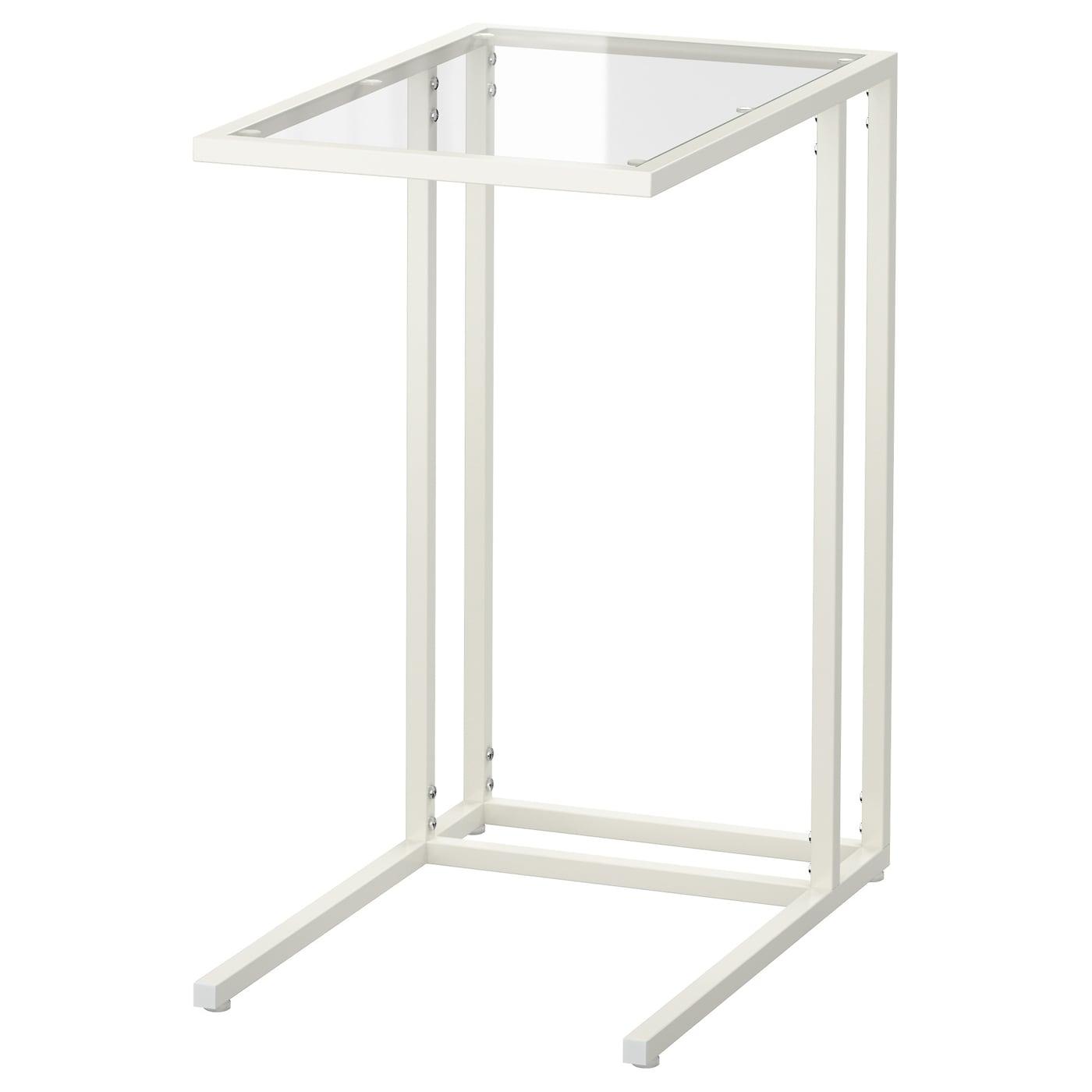 IKEA VITTSJÖ biały stolik na laptop ze szklanym panelem, 35x65 cm
