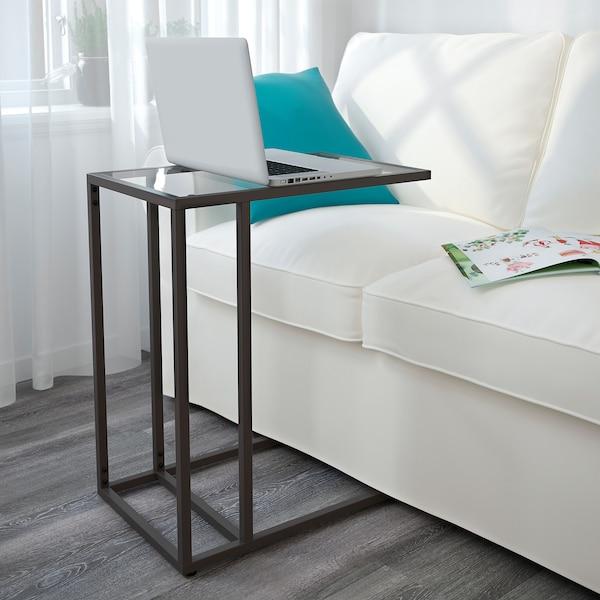 VITTSJÖ Stolik pod laptopa, czarnobrąz/szkło, 35x65 cm