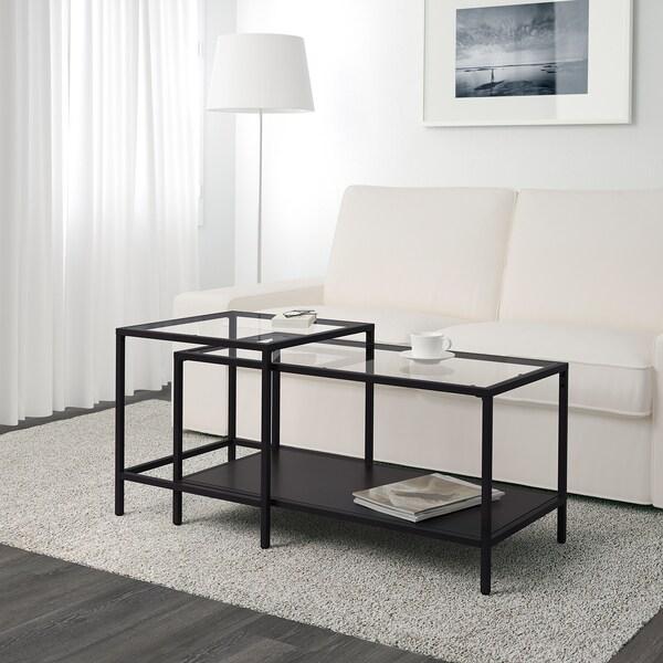 VITTSJÖ Stoliki, 2 szt., czarnobrąz/szkło, 90x50 cm
