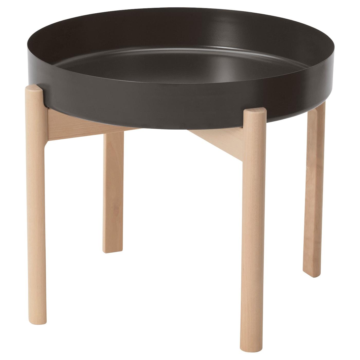 IKEA YPPERLIG brzozowy stolik z ciemnoszarym, okrągłym blatem, średnica 50 cm