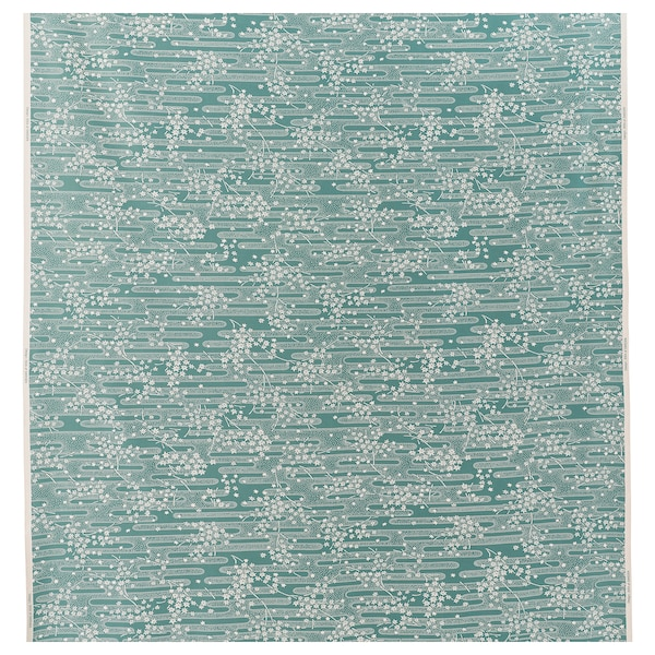 ÄNGSMOTT Fabric, grey-turquoise/white, 150 cm