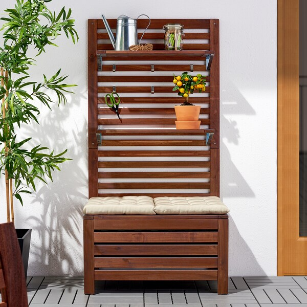 ÄPPLARÖ bench w panel+ shelves, outdoor brown stained 80 cm 44 cm 158 cm