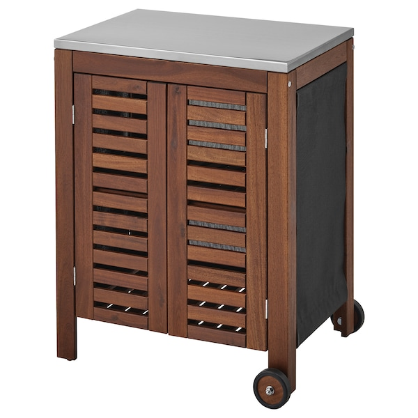 ÄPPLARÖ / KLASEN storage cabinet, outdoor brown stained/stainless steel colour 77 cm 58 cm 90 cm