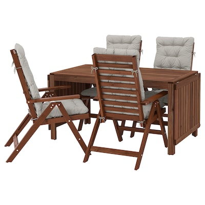 ÄPPLARÖ Table+4 reclining chairs, outdoor, brown stained/Kuddarna grey