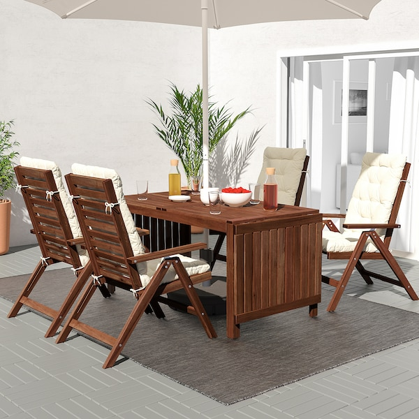 ÄPPLARÖ Table+4 reclining chairs, outdoor, brown stained