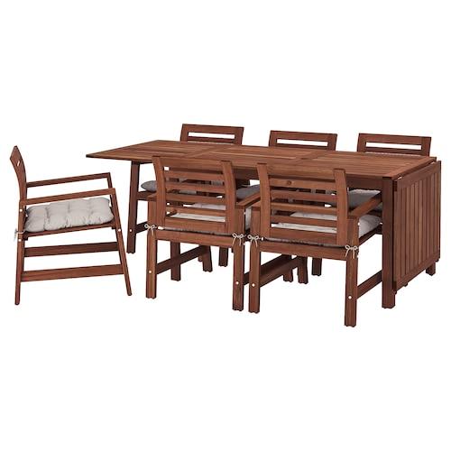 IKEA ÄPPLARÖ Table+6 chairs w armrests, outdoor