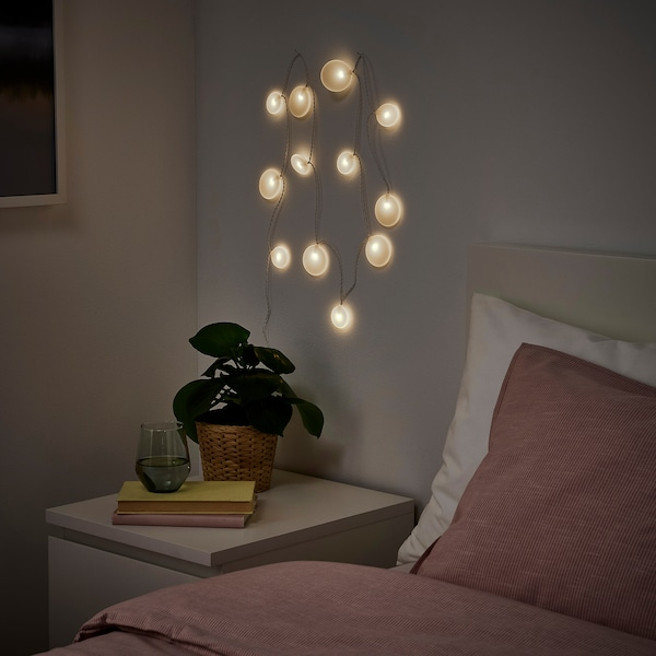 AKTERPORT LED lighting chain with 12 lights, battery-operated/Pebbles white