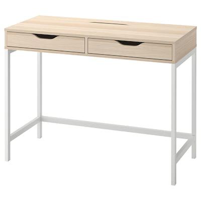 ALEX Desk, white stained/oak effect, 100x48 cm