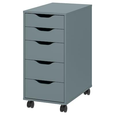 ALEX Drawer unit on castors, grey-turquoise/black, 36x76 cm