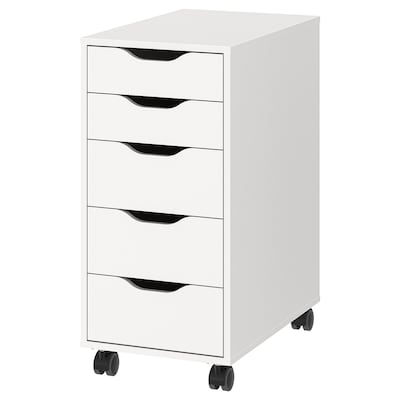 ALEX Drawer unit on castors, white/black, 36x76 cm
