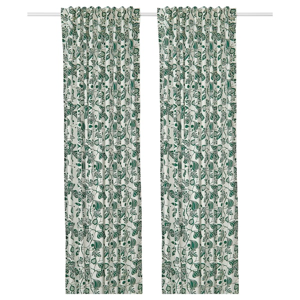ALPKLÖVER curtains, 1 pair white/dark green 300 cm 145 cm 1.80 kg 4.35 m² 2 pack