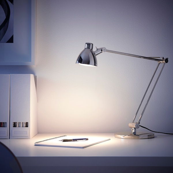 ANTIFONI Work lamp, nickel-plated