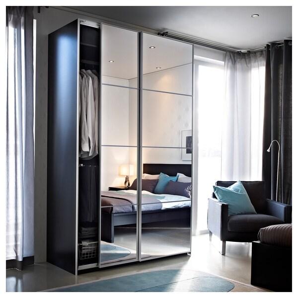 AULI 4 panels for sliding door frame, mirror glass, 100x201 cm