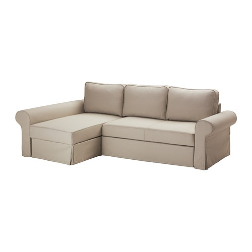 Backabro sofa bed with chaise longue tygelsj beige ikea for Divano futon ikea