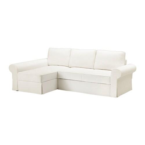 BACKABRO Sofa bed with chaise longue Nordvalla dark grey IKEA
