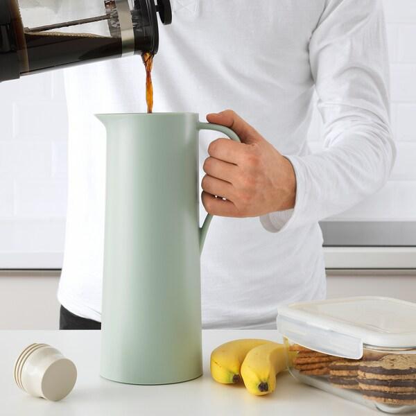 BEHÖVD vacuum flask light green/beige 30 cm 1 l