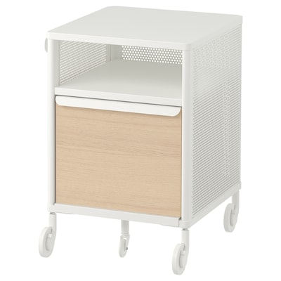 BEKANT Storage unit with smart lock, mesh white, 41x61 cm