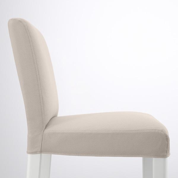 BERGMUND Bar stool with backrest, white/Hallarp beige, 62 cm