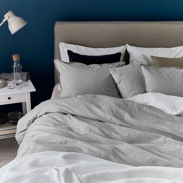 BERGPALM Duvet cover and 2 pillowcases, grey/stripe, 240x220/50x60 cm