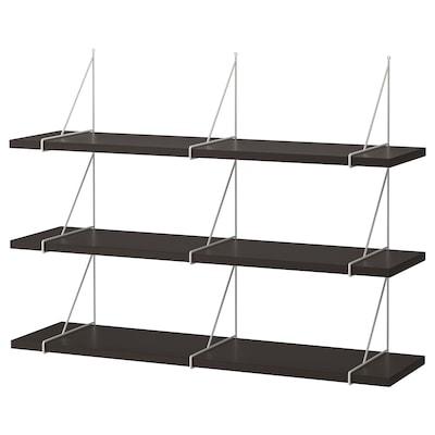 BERGSHULT / PERSHULT Wall shelf combination, brown-black/white, 120x30 cm