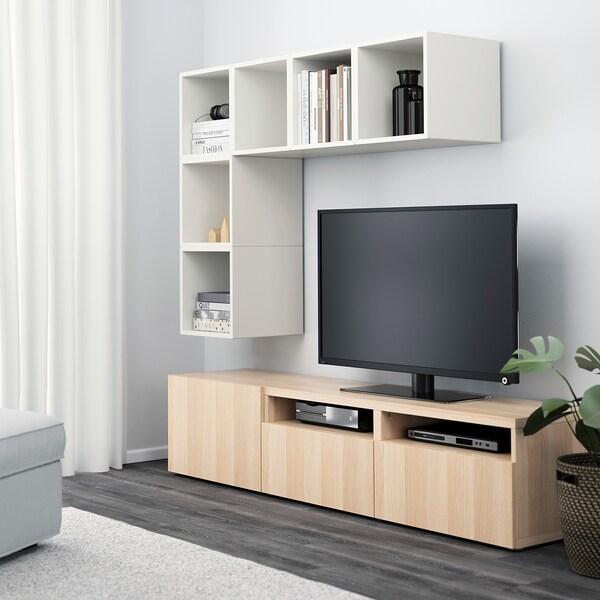 BESTÅ / EKET cabinet combination for TV white/white stained oak effect 70 cm 180 cm 40 cm 170 cm