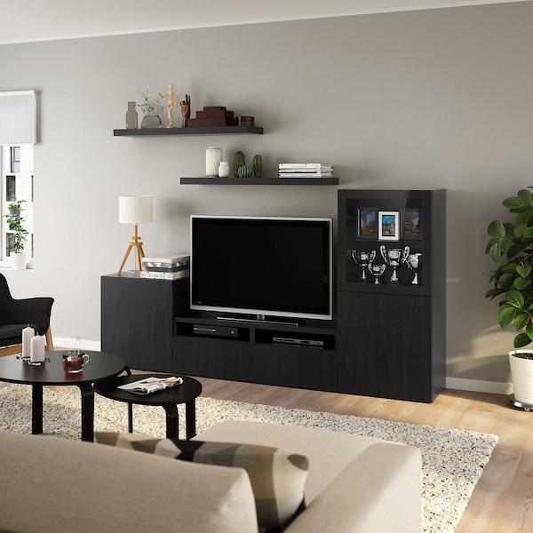 BESTÅ / LACK TV storage combination, black-brown, 240x42x129 cm