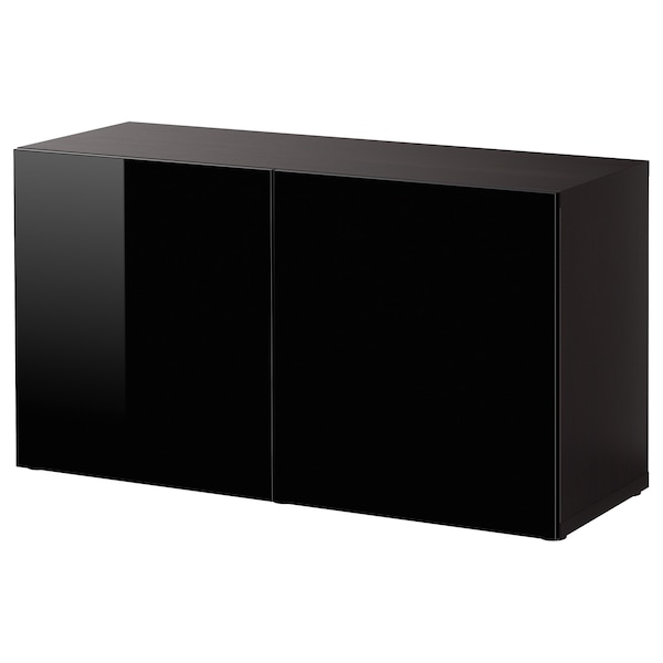 BESTÅ Shelf unit with doors, black-brown/Selsviken high-gloss/black, 120x42x64 cm