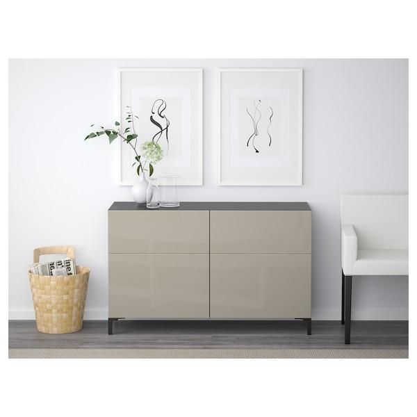 BESTÅ Storage combination w doors/drawers, black-brown/Selsviken high-gloss/beige, 120x40x74 cm
