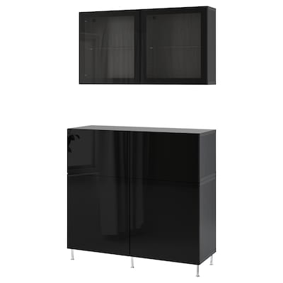 BESTÅ Storage combination w doors/drawers, black-brown/Selsviken/Stallarp high-gloss/black clear glass, 120x42x240 cm